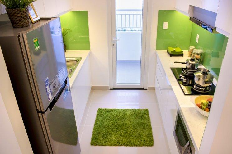 Không gian bếp với gam màu xanh dịu mát